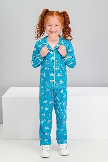 Roly Poly Rolypoly Deer Petrol Kız Çocuk Gömlek Pijama Takımı Yeşil